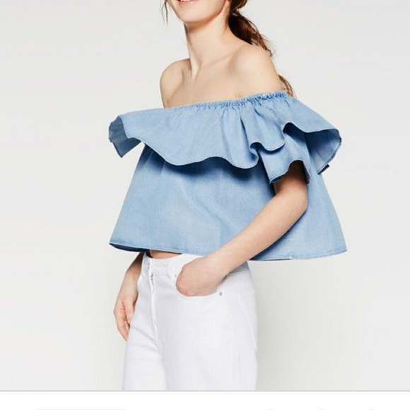 e3ef1de7dbce96 Zara Tops | Nwt Woman Premium Denim Collection Top S | Poshmark